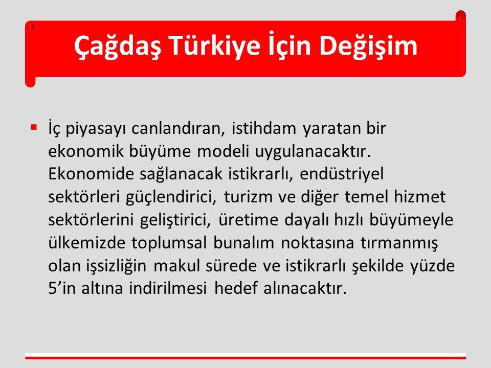 Çağdaş Türkiye İçin Değişim  İç piyasayı canlandıran, istihdam yaratan bir ekonomik büyüme modeli uygulanacaktır. Ekonomide sağlanacak istikrarlı, en