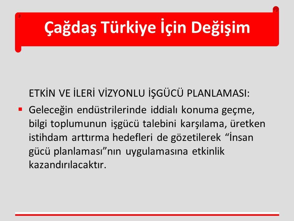 Çağdaş Türkiye İçin Değişim ETKİN VE İLERİ VİZYONLU İŞGÜCÜ PLANLAMASI:  Geleceğin endüstrilerinde iddialı konuma geçme, bilgi toplumunun işgücü taleb