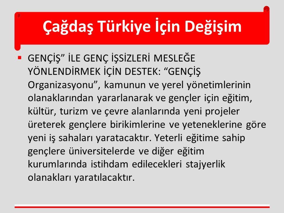 """Çağdaş Türkiye İçin Değişim  GENÇİŞ"""" İLE GENÇ İŞSİZLERİ MESLEĞE YÖNLENDİRMEK İÇİN DESTEK: """"GENÇİŞ Organizasyonu"""", kamunun ve yerel yönetimlerinin ola"""