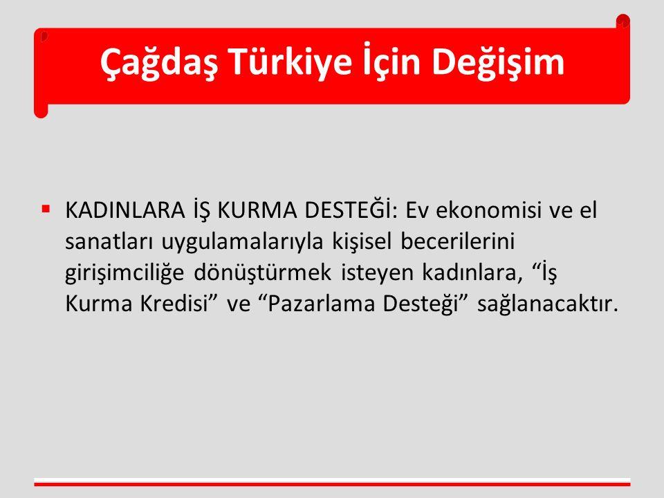 Çağdaş Türkiye İçin Değişim  KADINLARA İŞ KURMA DESTEĞİ: Ev ekonomisi ve el sanatları uygulamalarıyla kişisel becerilerini girişimciliğe dönüştürmek