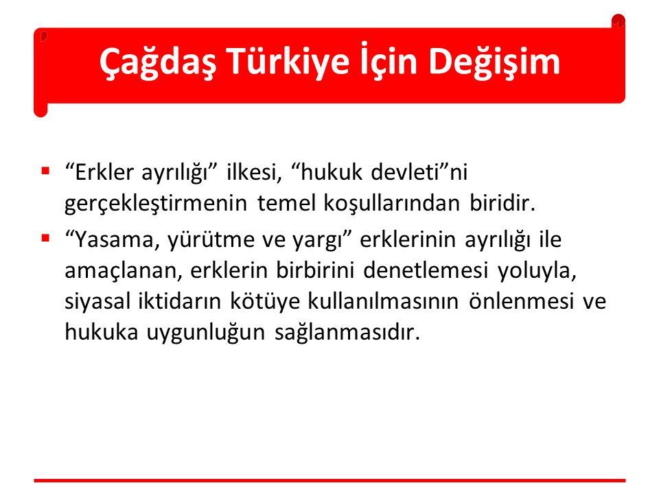 """Çağdaş Türkiye İçin Değişim  """"Erkler ayrılığı"""" ilkesi, """"hukuk devleti""""ni gerçekleştirmenin temel koşullarından biridir.  """"Yasama, yürütme ve yargı"""""""