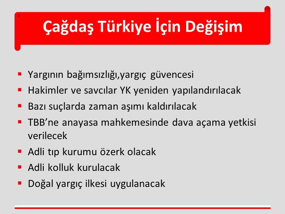 Çağdaş Türkiye İçin Değişim  Yargının bağımsızlığı,yargıç güvencesi  Hakimler ve savcılar YK yeniden yapılandırılacak  Bazı suçlarda zaman aşımı ka