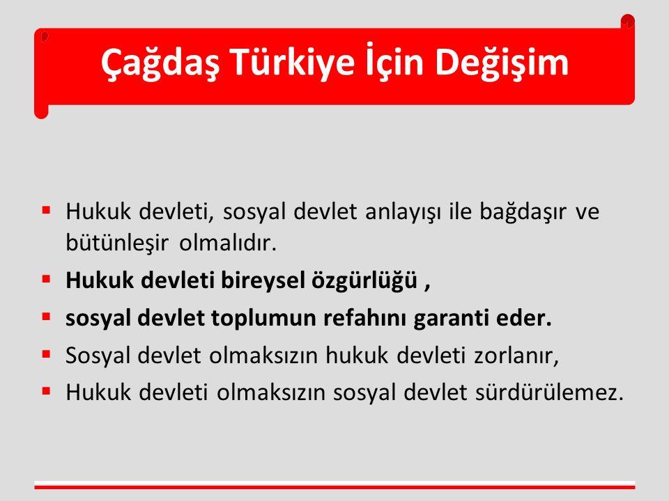 Çağdaş Türkiye İçin Değişim  Hukuk devleti, sosyal devlet anlayışı ile bağdaşır ve bütünleşir olmalıdır.  Hukuk devleti bireysel özgürlüğü,  sosyal