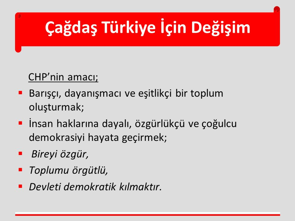 CHP'nin amacı;  Barışçı, dayanışmacı ve eşitlikçi bir toplum oluşturmak;  İnsan haklarına dayalı, özgürlükçü ve çoğulcu demokrasiyi hayata geçirmek;  Bireyi özgür,  Toplumu örgütlü,  Devleti demokratik kılmaktır.