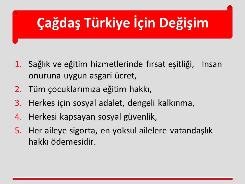 Çağdaş Türkiye İçin Değişim 1.Sağlık ve eğitim hizmetlerinde fırsat eşitliği, İnsan onuruna uygun asgari ücret, 2.Tüm çocuklarımıza eğitim hakkı, 3.He