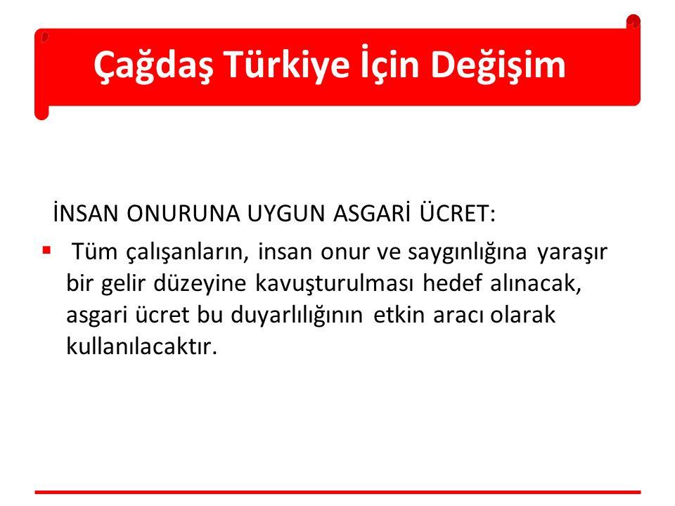 Çağdaş Türkiye İçin Değişim İNSAN ONURUNA UYGUN ASGARİ ÜCRET:  Tüm çalışanların, insan onur ve saygınlığına yaraşır bir gelir düzeyine kavuşturulması