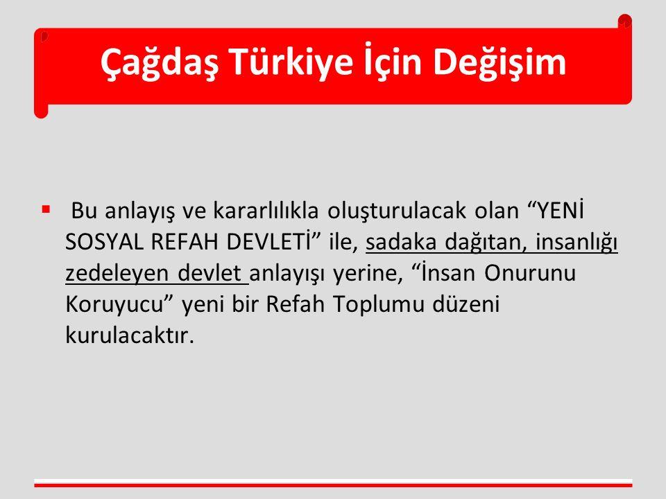 Çağdaş Türkiye İçin Değişim  Bu anlayış ve kararlılıkla oluşturulacak olan YENİ SOSYAL REFAH DEVLETİ ile, sadaka dağıtan, insanlığı zedeleyen devlet anlayışı yerine, İnsan Onurunu Koruyucu yeni bir Refah Toplumu düzeni kurulacaktır.
