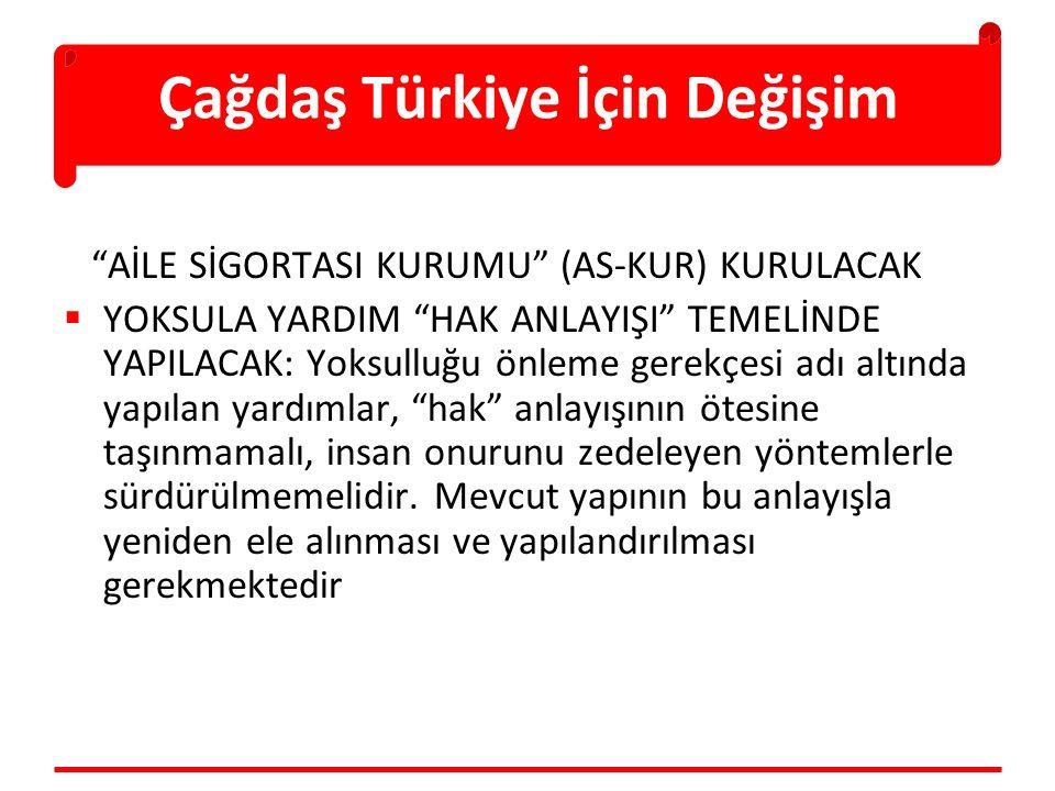 """Çağdaş Türkiye İçin Değişim """"AİLE SİGORTASI KURUMU"""" (AS-KUR) KURULACAK  YOKSULA YARDIM """"HAK ANLAYIŞI"""" TEMELİNDE YAPILACAK: Yoksulluğu önleme gerekçes"""