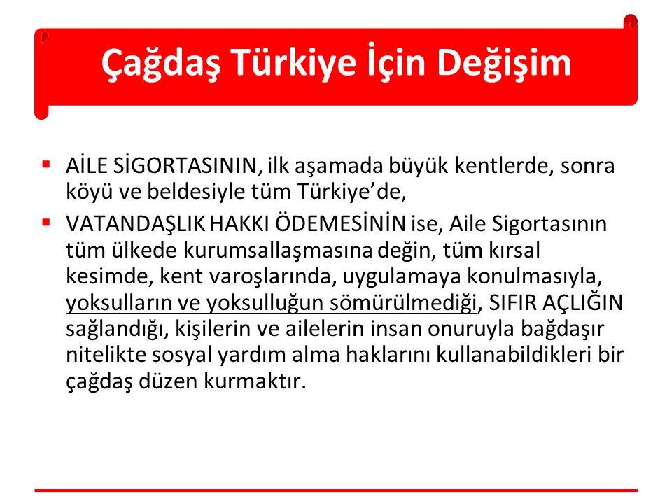 Çağdaş Türkiye İçin Değişim  AİLE SİGORTASININ, ilk aşamada büyük kentlerde, sonra köyü ve beldesiyle tüm Türkiye'de,  VATANDAŞLIK HAKKI ÖDEMESİNİN ise, Aile Sigortasının tüm ülkede kurumsallaşmasına değin, tüm kırsal kesimde, kent varoşlarında, uygulamaya konulmasıyla, yoksulların ve yoksulluğun sömürülmediği, SIFIR AÇLIĞIN sağlandığı, kişilerin ve ailelerin insan onuruyla bağdaşır nitelikte sosyal yardım alma haklarını kullanabildikleri bir çağdaş düzen kurmaktır.