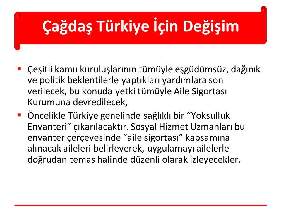 Çağdaş Türkiye İçin Değişim  Çeşitli kamu kuruluşlarının tümüyle eşgüdümsüz, dağınık ve politik beklentilerle yaptıkları yardımlara son verilecek, bu