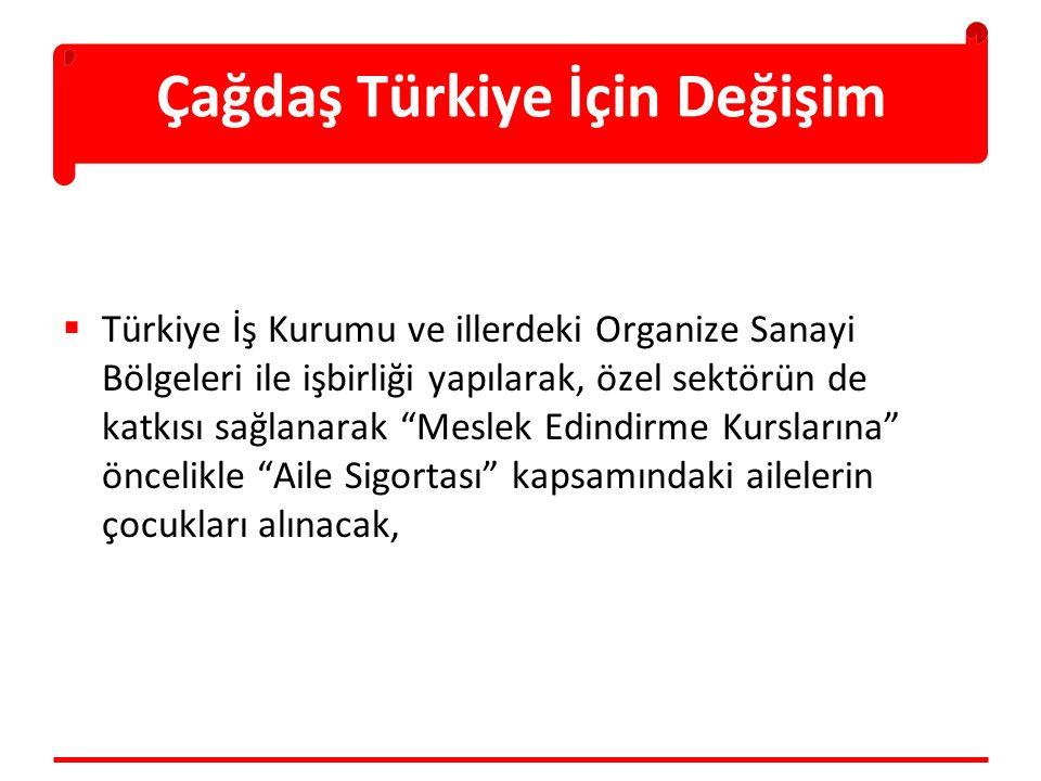 """Çağdaş Türkiye İçin Değişim  Türkiye İş Kurumu ve illerdeki Organize Sanayi Bölgeleri ile işbirliği yapılarak, özel sektörün de katkısı sağlanarak """"M"""