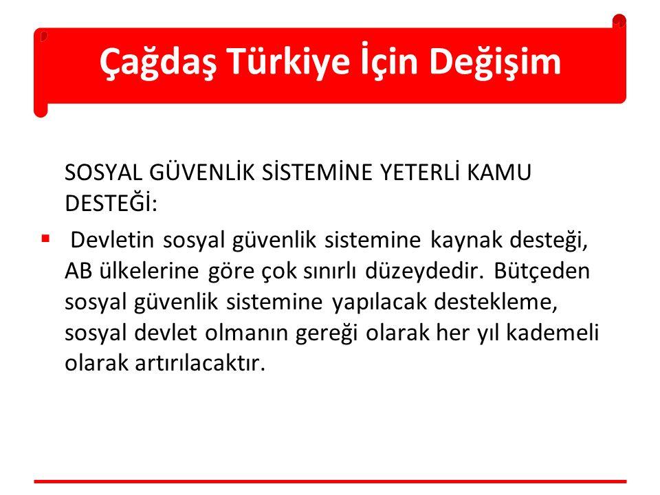 Çağdaş Türkiye İçin Değişim SOSYAL GÜVENLİK SİSTEMİNE YETERLİ KAMU DESTEĞİ:  Devletin sosyal güvenlik sistemine kaynak desteği, AB ülkelerine göre çok sınırlı düzeydedir.