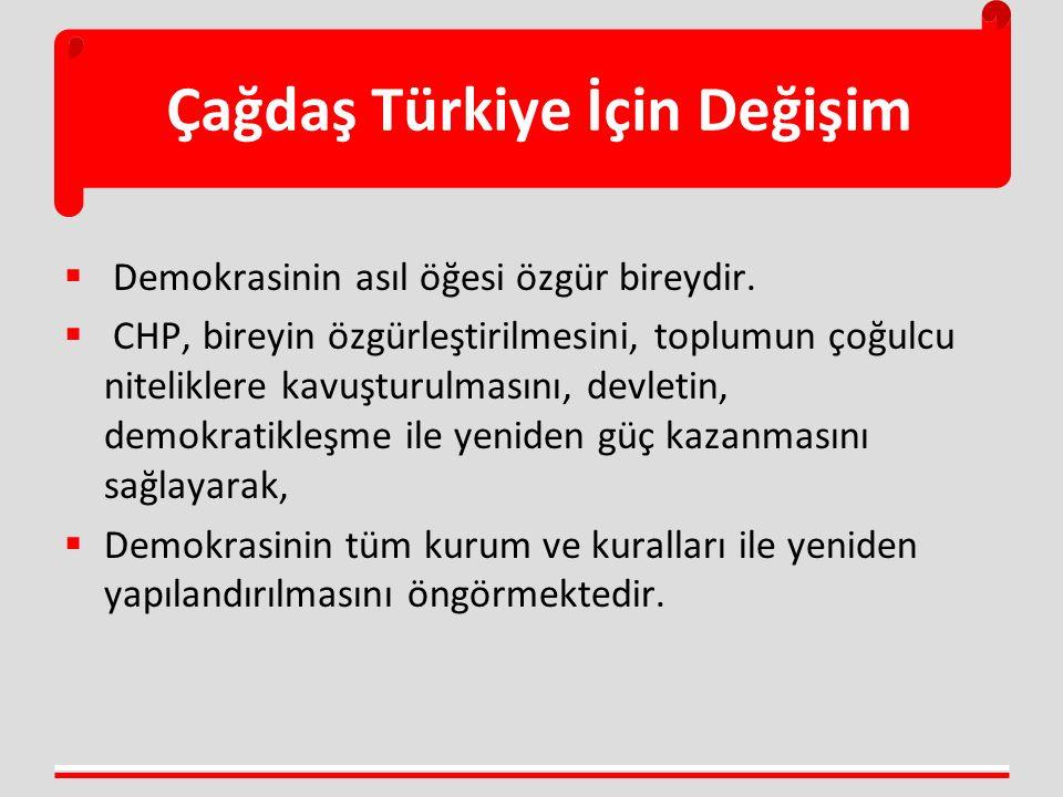  Demokrasinin asıl öğesi özgür bireydir.  CHP, bireyin özgürleştirilmesini, toplumun çoğulcu niteliklere kavuşturulmasını, devletin, demokratikleşme