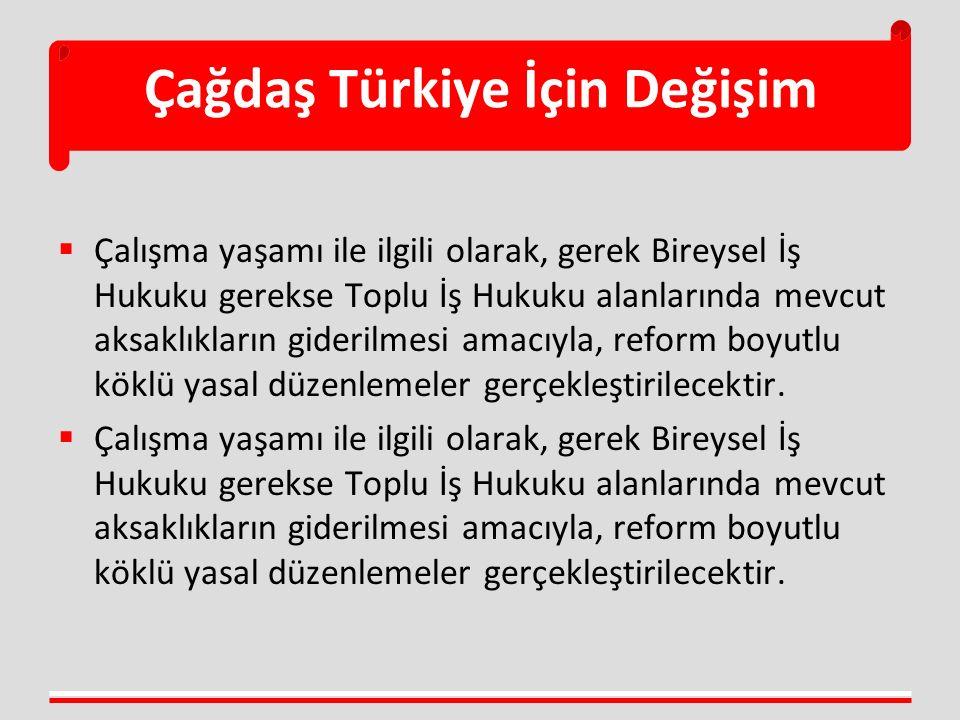 Çağdaş Türkiye İçin Değişim  Çalışma yaşamı ile ilgili olarak, gerek Bireysel İş Hukuku gerekse Toplu İş Hukuku alanlarında mevcut aksaklıkların gide