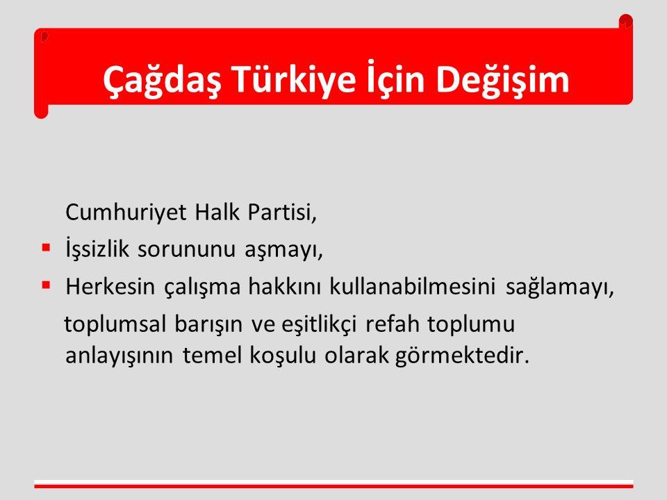 Çağdaş Türkiye İçin Değişim Cumhuriyet Halk Partisi,  İşsizlik sorununu aşmayı,  Herkesin çalışma hakkını kullanabilmesini sağlamayı, toplumsal barışın ve eşitlikçi refah toplumu anlayışının temel koşulu olarak görmektedir.