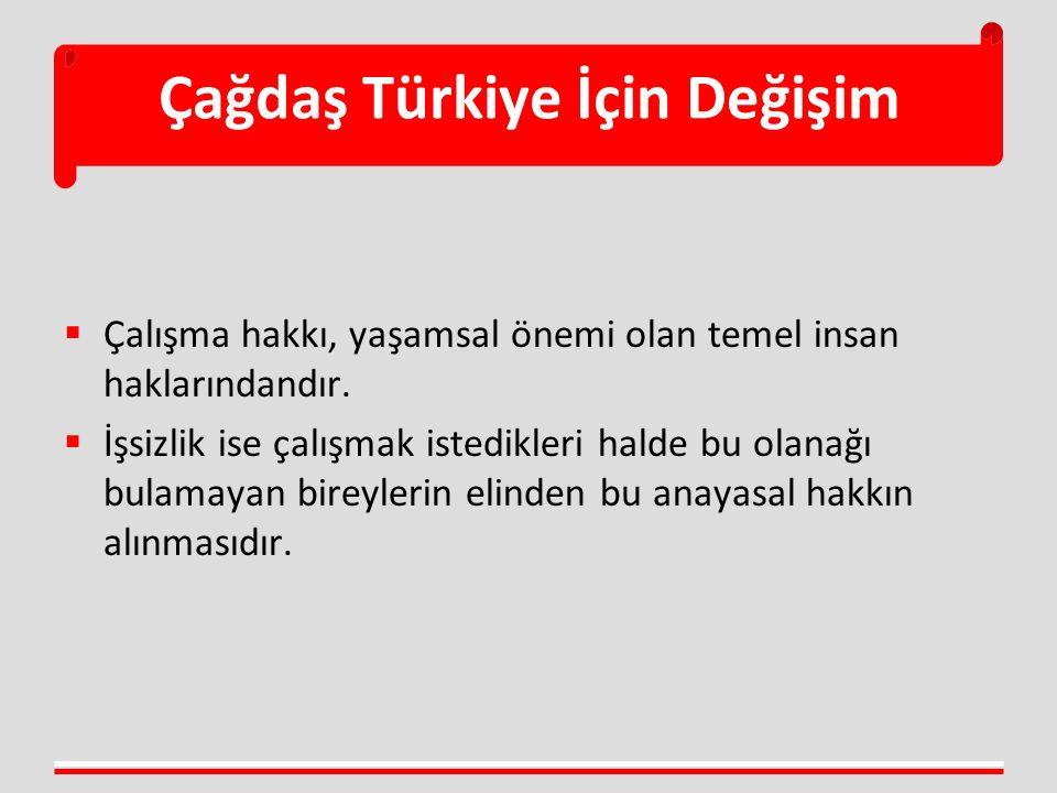 Çağdaş Türkiye İçin Değişim  Çalışma hakkı, yaşamsal önemi olan temel insan haklarındandır.  İşsizlik ise çalışmak istedikleri halde bu olanağı bula