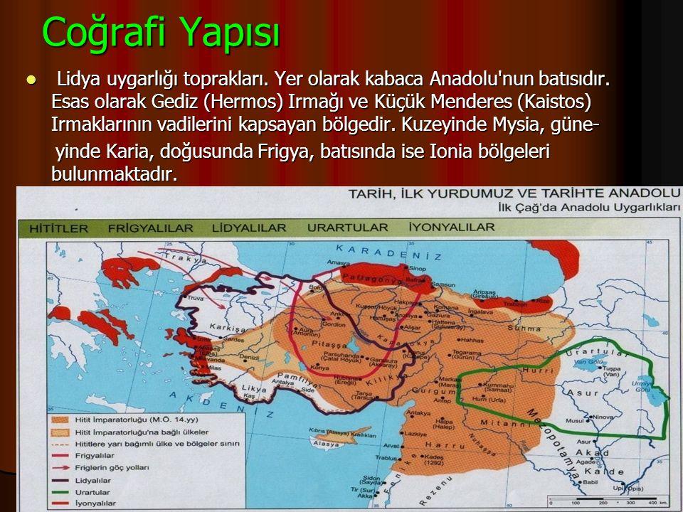 4)Lidyalılar · Gediz ve Büyük Menderes ırmakları arasında kurulmuştur. · Kral Giges zamanında bağımsız bir devlet kurmuşlardır. · Başkentleri Şard şeh