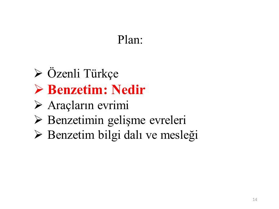14 Plan:  Özenli Türkçe  Benzetim: Nedir  Araçların evrimi  Benzetimin gelişme evreleri  Benzetim bilgi dalı ve mesleği