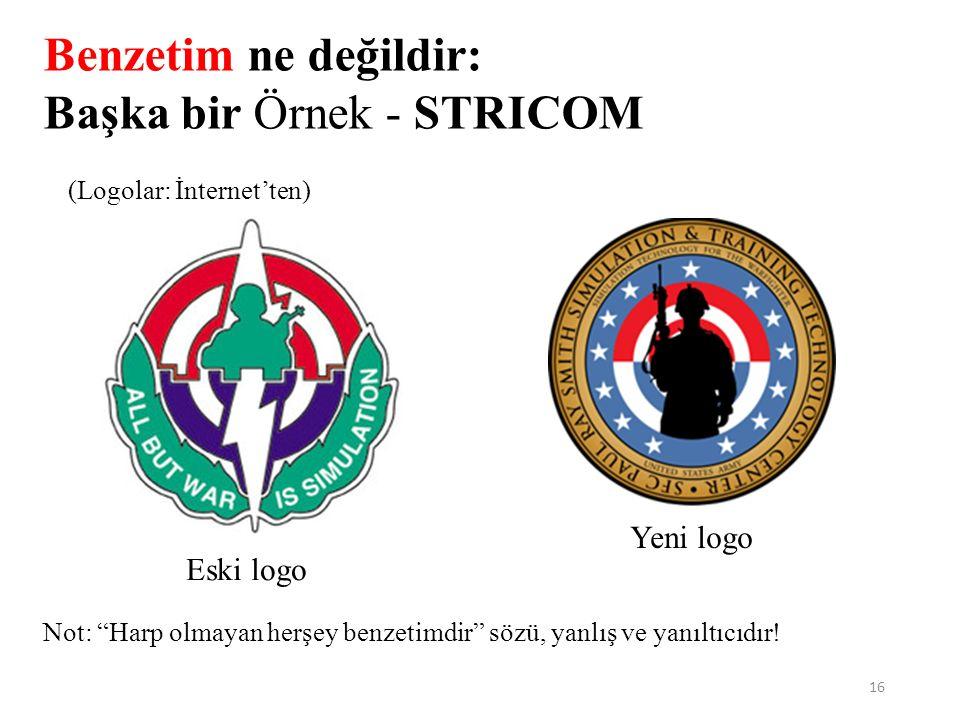 16 Benzetim ne değildir: Başka bir Örnek - STRICOM Eski logo Yeni logo (Logolar: İnternet'ten) Not: Harp olmayan herşey benzetimdir sözü, yanlış ve yanıltıcıdır!