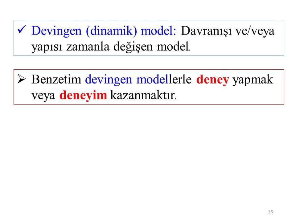 18  Benzetim devingen modellerle deney yapmak veya deneyim kazanmaktır.