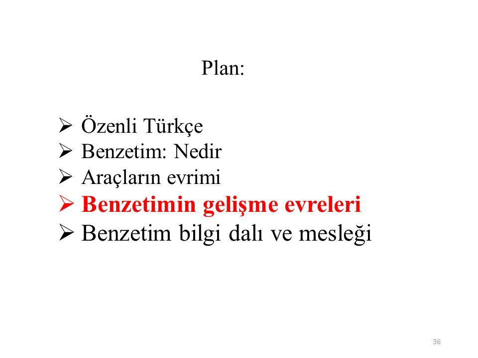 36 Plan:  Özenli Türkçe  Benzetim: Nedir  Araçların evrimi  Benzetimin gelişme evreleri  Benzetim bilgi dalı ve mesleği