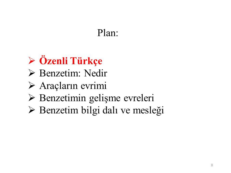 8 Plan:  Özenli Türkçe  Benzetim: Nedir  Araçların evrimi  Benzetimin gelişme evreleri  Benzetim bilgi dalı ve mesleği