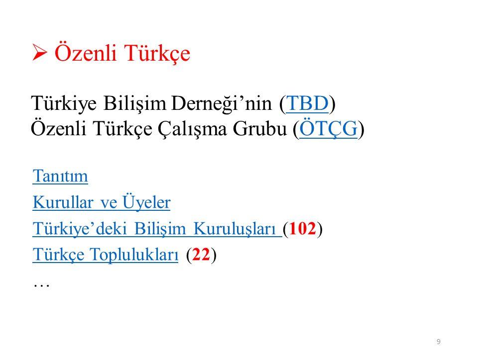 9  Özenli Türkçe Türkiye Bilişim Derneği'nin (TBD)TBD Özenli Türkçe Çalışma Grubu (ÖTÇG)ÖTÇG Tanıtım Kurullar ve Üyeler Türkiye'deki Bilişim Kuruluşları Türkiye'deki Bilişim Kuruluşları (102) Türkçe TopluluklarıTürkçe Toplulukları (22) …