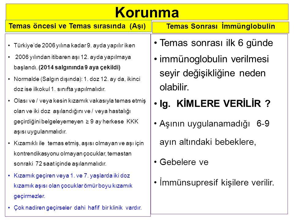 Korunma Türkiye'de 2006 yılına kadar 9.ayda yapılır iken 2006 yılından itibaren aşı 12.
