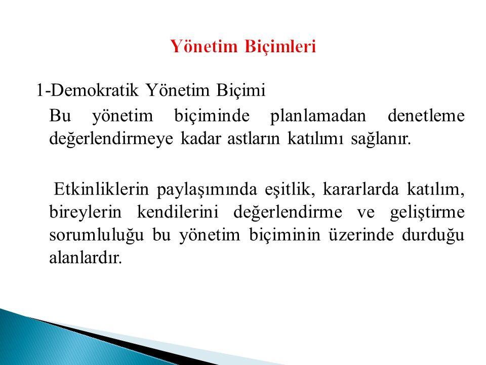 1-Demokratik Yönetim Biçimi Bu yönetim biçiminde planlamadan denetleme değerlendirmeye kadar astların katılımı sağlanır.