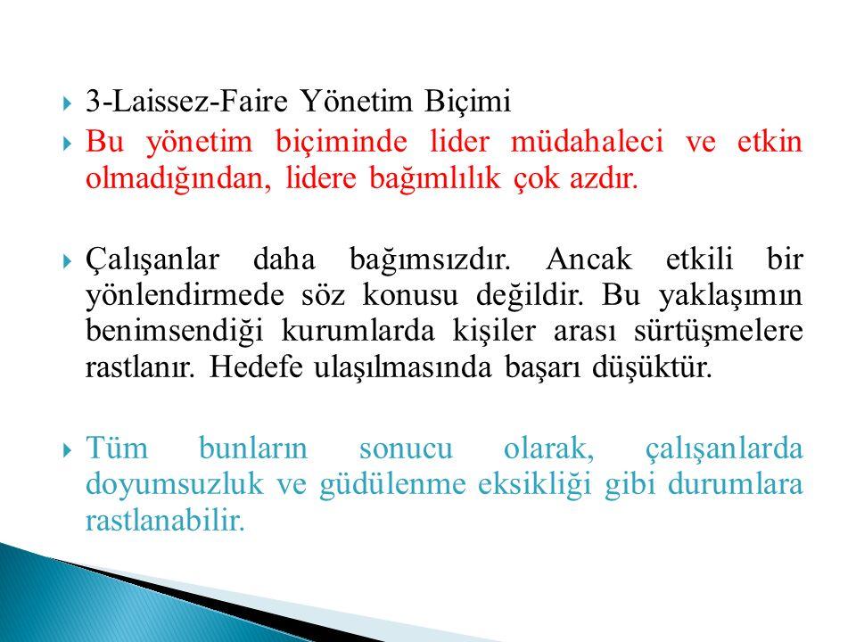  3-Laissez-Faire Yönetim Biçimi  Bu yönetim biçiminde lider müdahaleci ve etkin olmadığından, lidere bağımlılık çok azdır.