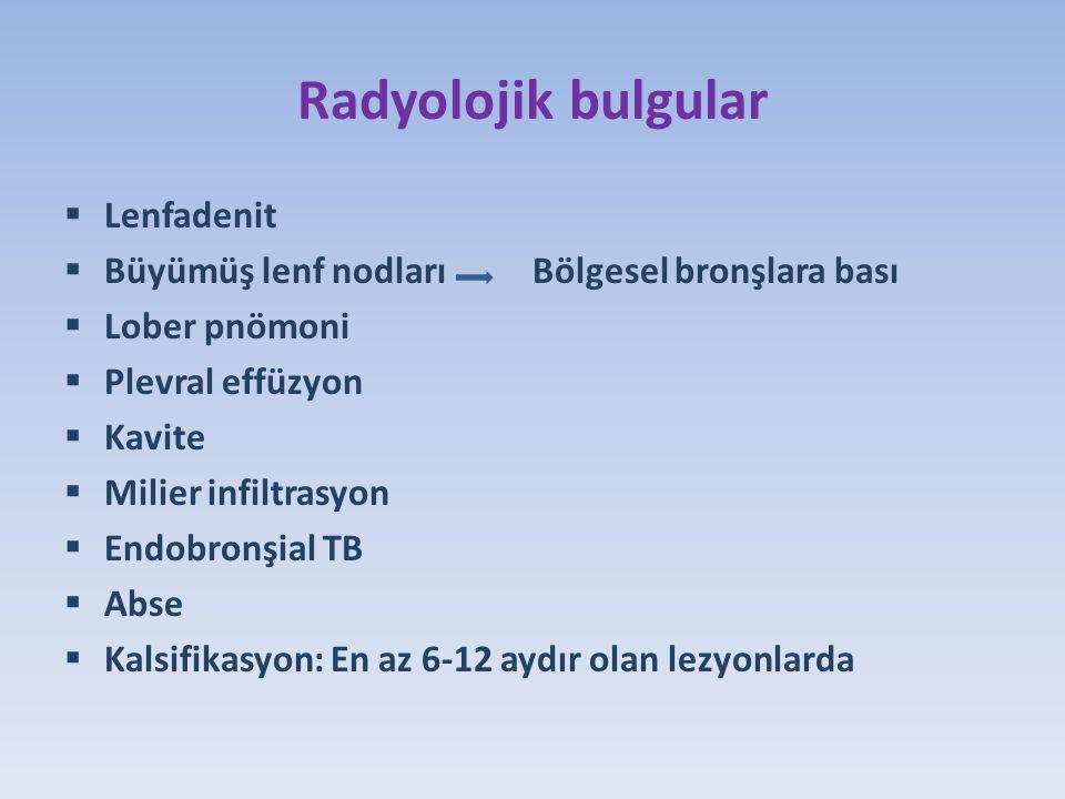 Radyolojik bulgular  Lenfadenit  Büyümüş lenf nodları Bölgesel bronşlara bası  Lober pnömoni  Plevral effüzyon  Kavite  Milier infiltrasyon  Endobronşial TB  Abse  Kalsifikasyon: En az 6-12 aydır olan lezyonlarda