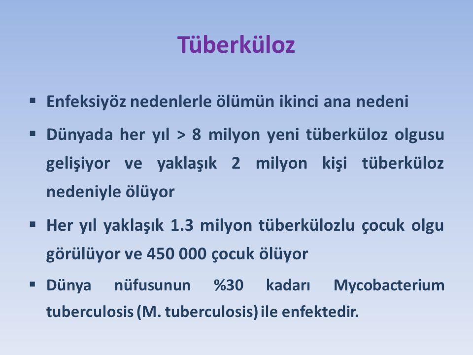 Tüberküloz  Enfeksiyöz nedenlerle ölümün ikinci ana nedeni  Dünyada her yıl > 8 milyon yeni tüberküloz olgusu gelişiyor ve yaklaşık 2 milyon kişi tüberküloz nedeniyle ölüyor  Her yıl yaklaşık 1.3 milyon tüberkülozlu çocuk olgu görülüyor ve 450 000 çocuk ölüyor  Dünya nüfusunun %30 kadarı Mycobacterium tuberculosis (M.