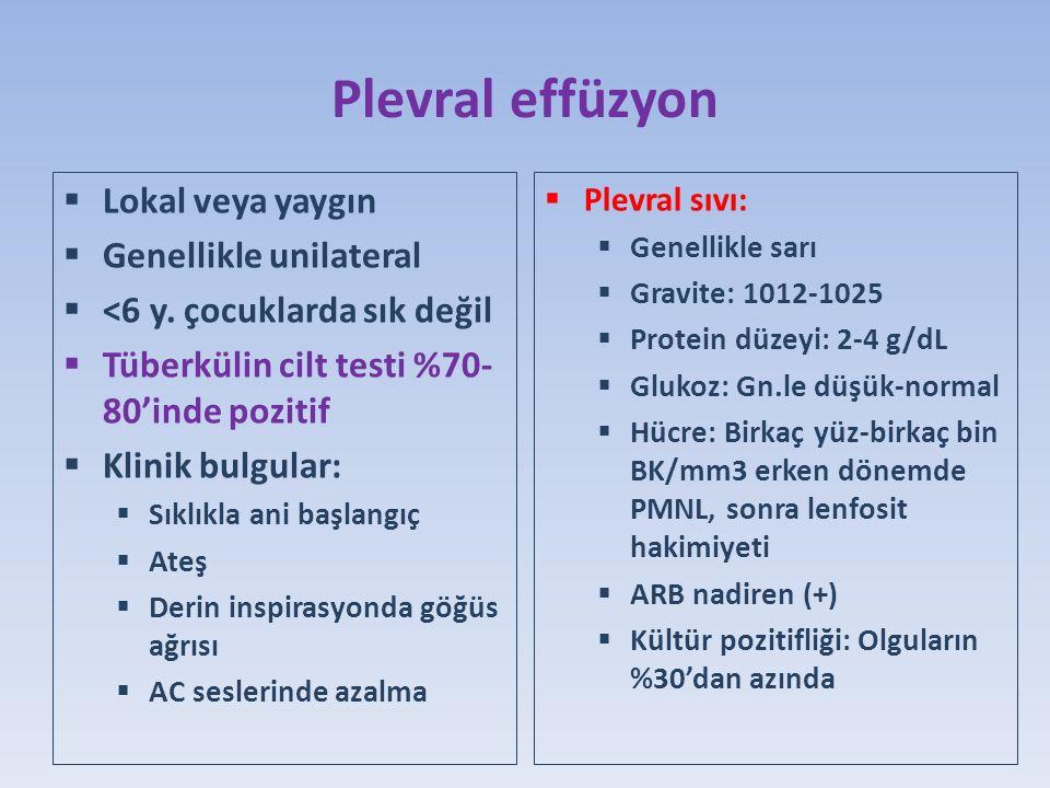 Plevral effüzyon  Lokal veya yaygın  Genellikle unilateral  <6 y.