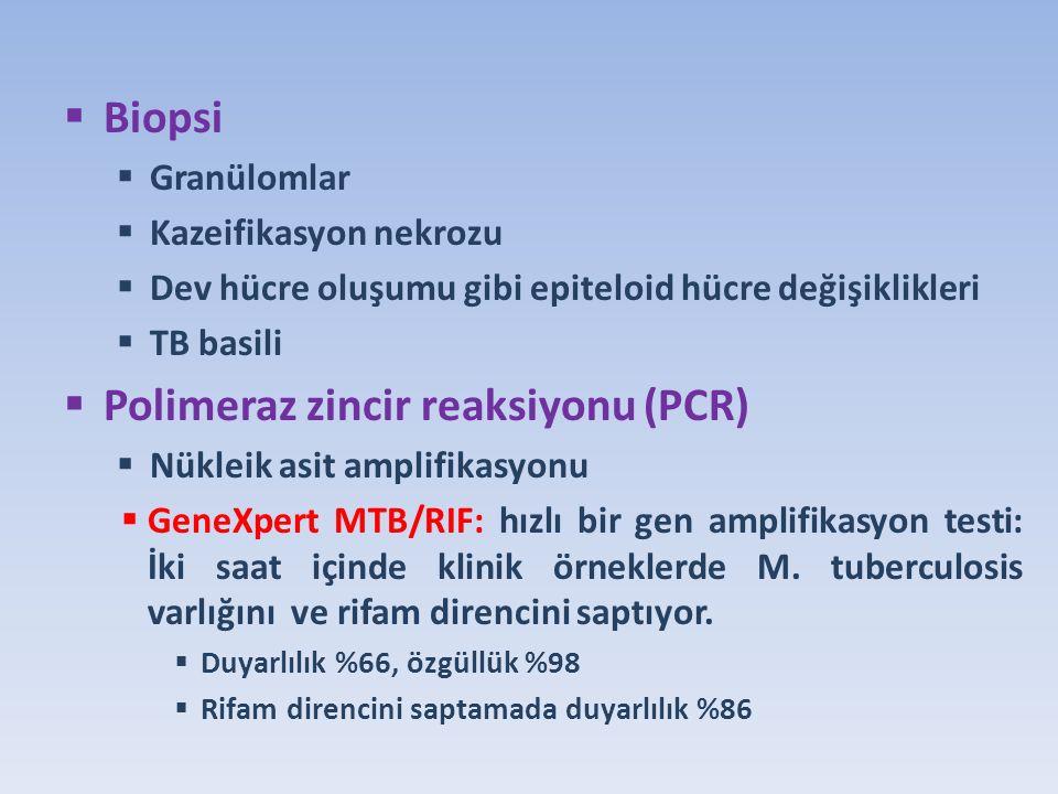  Biopsi  Granülomlar  Kazeifikasyon nekrozu  Dev hücre oluşumu gibi epiteloid hücre değişiklikleri  TB basili  Polimeraz zincir reaksiyonu (PCR)  Nükleik asit amplifikasyonu  GeneXpert MTB/RIF: hızlı bir gen amplifikasyon testi: İki saat içinde klinik örneklerde M.