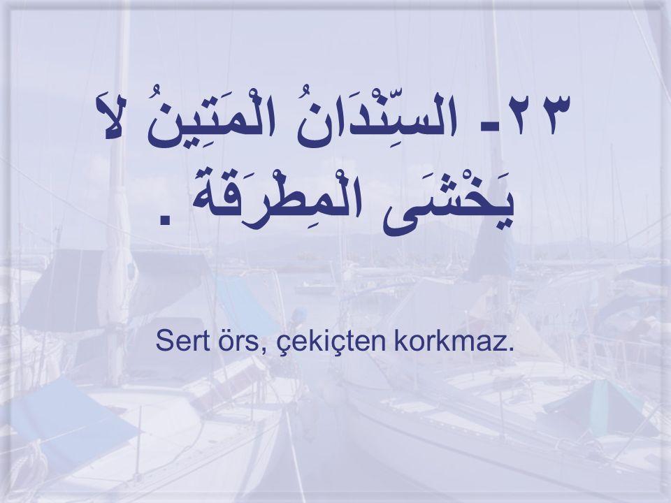 ٢٣- السِّنْدَانُ الْمَتِينُ لاَ يَخْشَى الْمِطْرَقَةَ. Sert örs, çekiçten korkmaz.