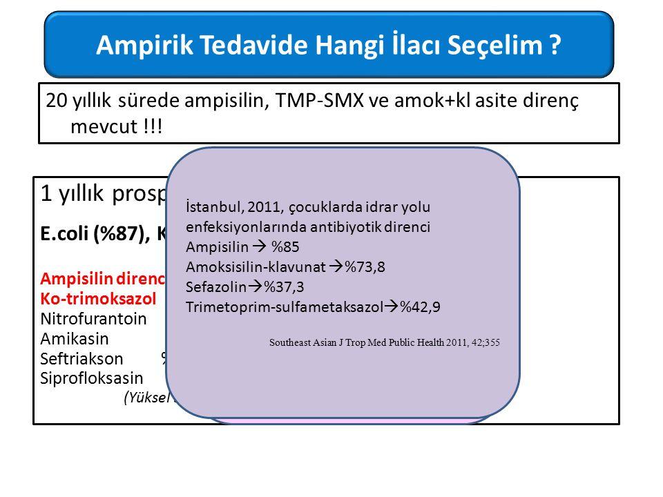 20 yıllık sürede ampisilin, TMP-SMX ve amok+kl asite direnç mevcut !!! 1 yıllık prospektif bir çalışma- 165 izolat E.coli (%87), Klebsiella (%10) Ampi