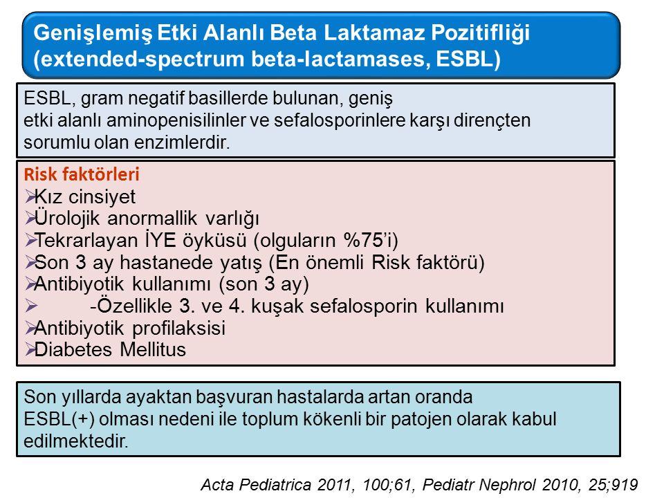 Risk faktörleri  Kız cinsiyet  Ürolojik anormallik varlığı  Tekrarlayan İYE öyküsü (olguların %75'i)  Son 3 ay hastanede yatış (En önemli Risk faktörü)  Antibiyotik kullanımı (son 3 ay)  -Özellikle 3.