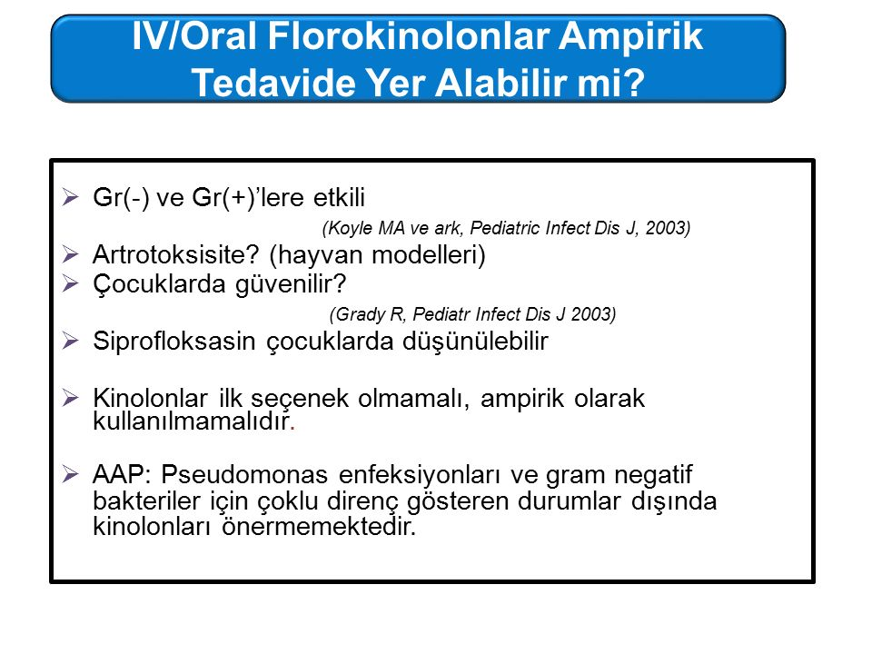  Gr(-) ve Gr(+)'lere etkili (Koyle MA ve ark, Pediatric Infect Dis J, 2003)  Artrotoksisite? (hayvan modelleri)  Çocuklarda güvenilir? (Grady R, Pe