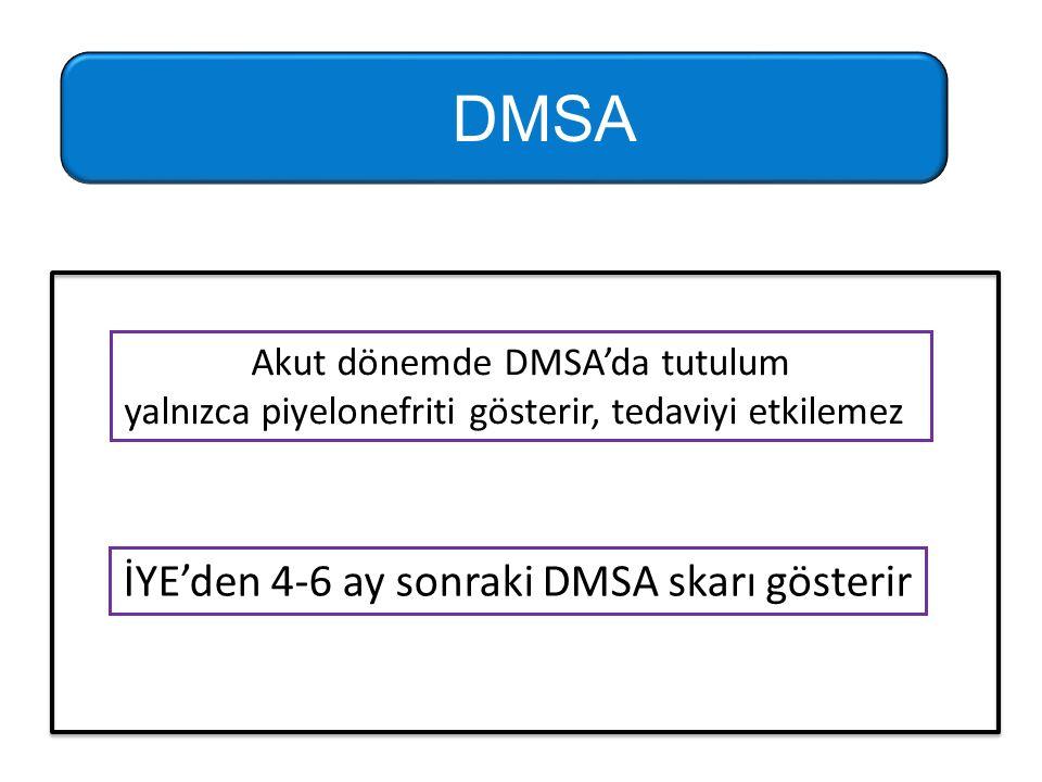 Akut dönemde DMSA'da tutulum yalnızca piyelonefriti gösterir, tedaviyi etkilemez İYE'den 4-6 ay sonraki DMSA skarı gösterir DMSA