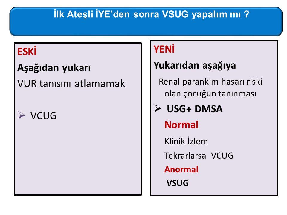 ESKİ Aşağıdan yukarı VUR tanısını atlamamak  VCUG YENİ Yukarıdan aşağıya Renal parankim hasarı riski olan çocuğun tanınması  USG+ DMSA Normal Klinik