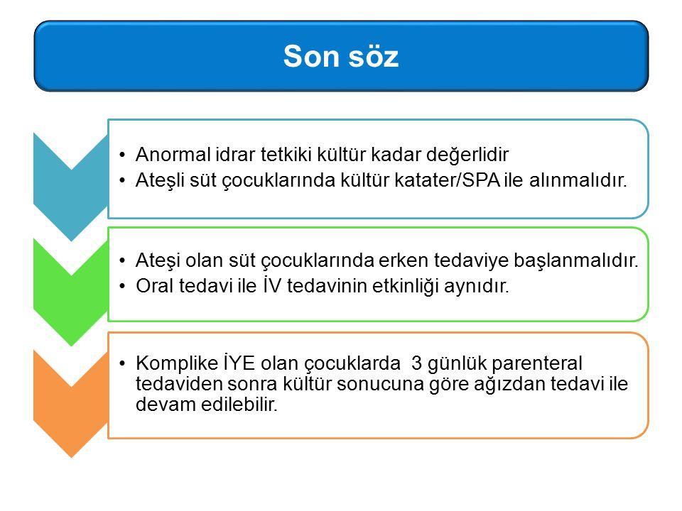 Anormal idrar tetkiki kültür kadar değerlidir Ateşli süt çocuklarında kültür katater/SPA ile alınmalıdır.