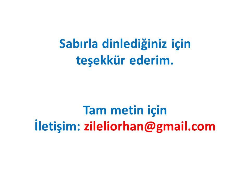 Sabırla dinlediğiniz için teşekkür ederim. Tam metin için İletişim: zileliorhan@gmail.com