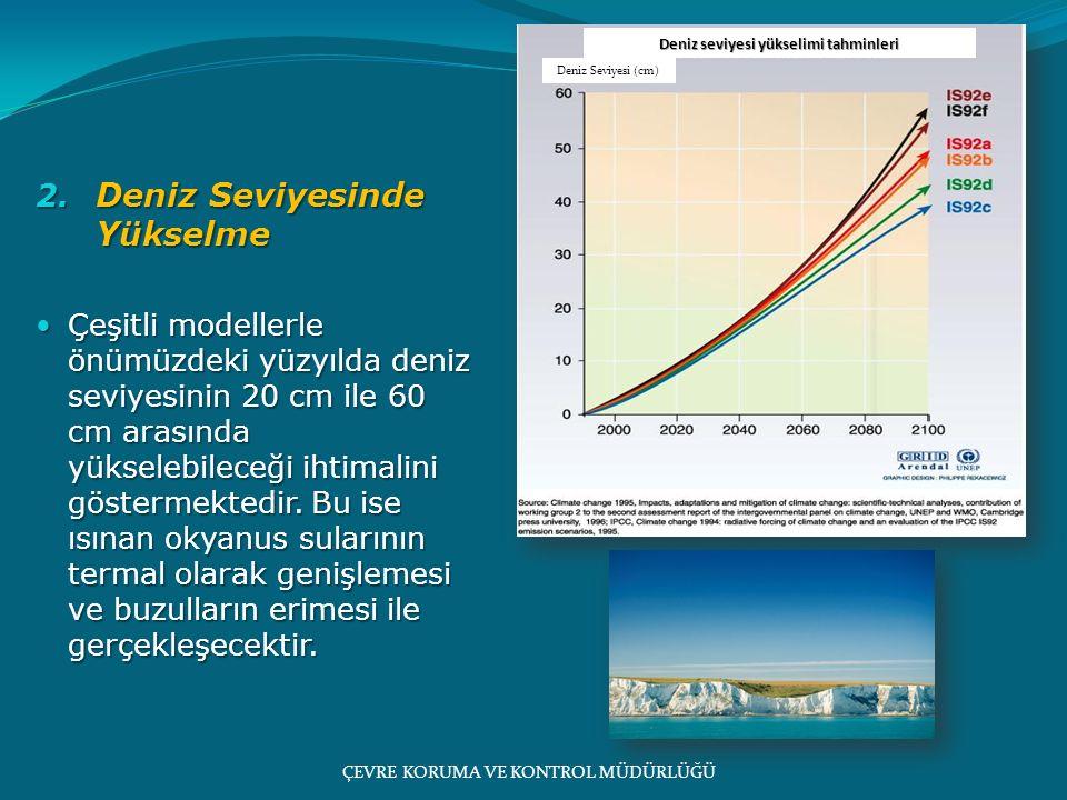 2. Deniz Seviyesinde Yükselme Çeşitli modellerle önümüzdeki yüzyılda deniz seviyesinin 20 cm ile 60 cm arasında yükselebileceği ihtimalini göstermekte