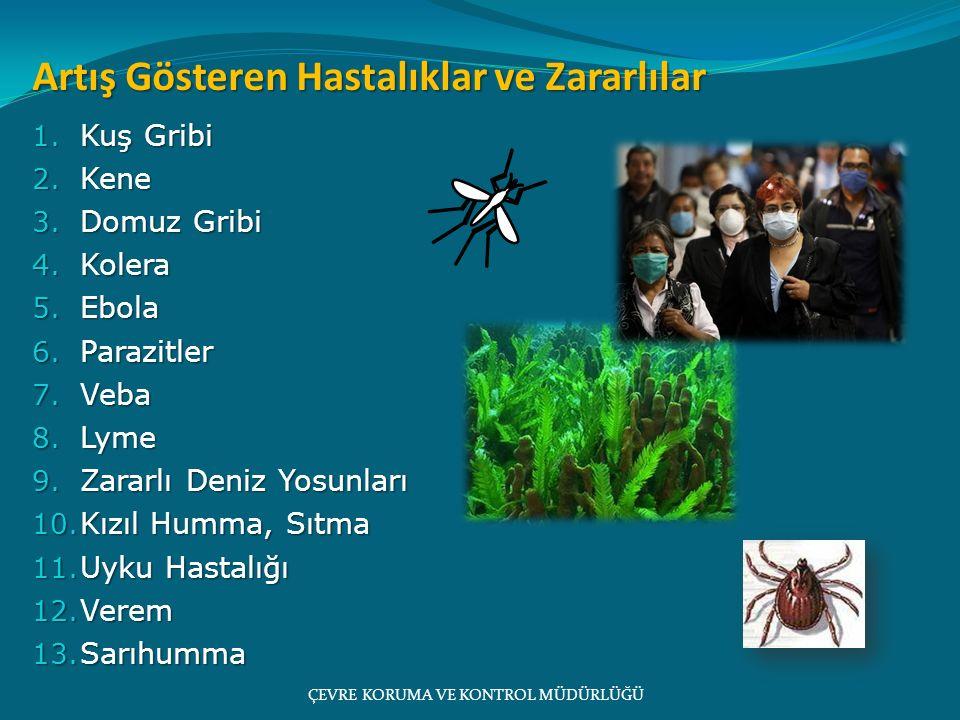 ÇEVRE KORUMA VE KONTROL MÜDÜRLÜĞÜ Artış Gösteren Hastalıklar ve Zararlılar 1. Kuş Gribi 2. Kene 3. Domuz Gribi 4. Kolera 5. Ebola 6. Parazitler 7. Veb