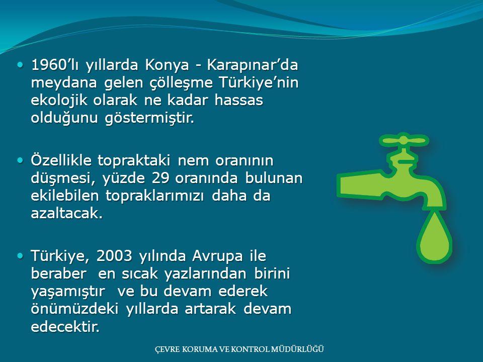 1960'lı yıllarda Konya - Karapınar'da meydana gelen çölleşme Türkiye'nin ekolojik olarak ne kadar hassas olduğunu göstermiştir. 1960'lı yıllarda Konya