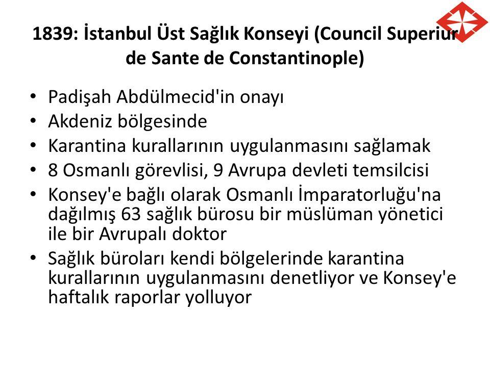 1839: İstanbul Üst Sağlık Konseyi (Council Superiur de Sante de Constantinople) Padişah Abdülmecid'in onayı Akdeniz bölgesinde Karantina kurallarının