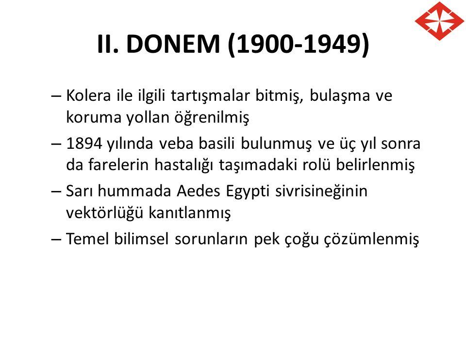 II. DONEM (1900-1949) – Kolera ile ilgili tartışmalar bitmiş, bulaşma ve koruma yollan öğrenilmiş – 1894 yılında veba basili bulunmuş ve üç yıl sonra
