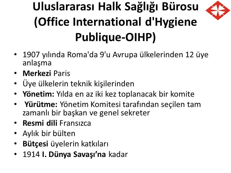 Uluslararası Halk Sağlığı Bürosu (Office International d'Hygiene Publique-OIHP) 1907 yılında Roma'da 9'u Avrupa ülkelerinden 12 üye anlaşma Merkezi Pa