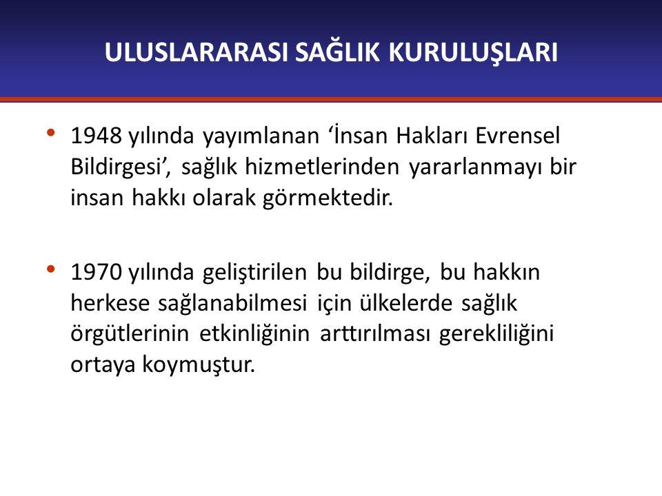 ULUSLARARASI SAĞLIK KURULUŞLARI 1948 yılında yayımlanan 'İnsan Hakları Evrensel Bildirgesi', sağlık hizmetlerinden yararlanmayı bir insan hakkı olarak