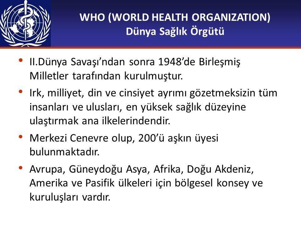 WHO (WORLD HEALTH ORGANIZATION) Dünya Sağlık Örgütü II.Dünya Savaşı'ndan sonra 1948'de Birleşmiş Milletler tarafından kurulmuştur. Irk, milliyet, din
